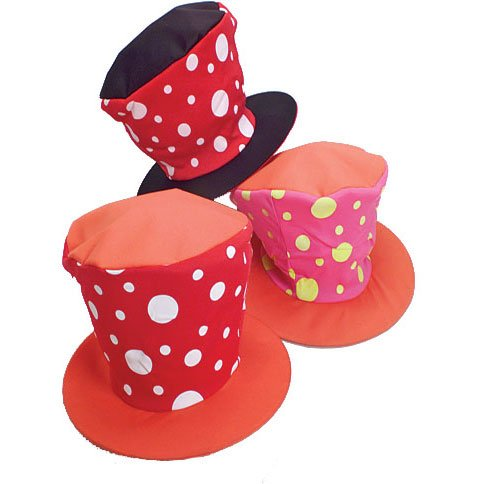 Adult Size Red Top Flared Polka Dot Clown Hat
