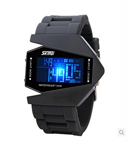 Elegant Plane Style Digital Display Led Silicone Wrist Watch