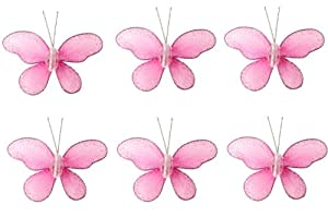 """Butterfly Decor 2"""" Dark Pink (Fuchsia) Mini (X-Small) Glitter Butterflies 6pc set. Decorate Baby Nursery Bedroom, Girls Room Ceiling Wall Decor, Wedding Birthday Party, Bridal Baby Shower, Bathroom. Decoration for Crafts, Scrapbooks, Invitations, Parties"""