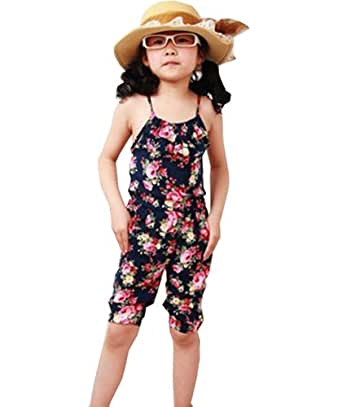 ROPALIA Kids Girls One-piece Romper Floral Pattern Jumpsuit Short Playsuit Amazon.co.uk Clothing