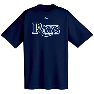 MLB Tampa Bay Devil Rays Official Wordmark Short Sleeve T-Shirt,Navy Blue (Large)