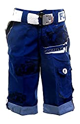 Fingerchips Boys Blue Colour Go Carting 3/4th Shorts with matching belt (waist 32 )