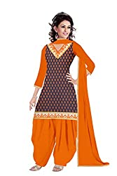 Queen Creation Women's Beautiful Semistitched Embroidered Orange Dress Material
