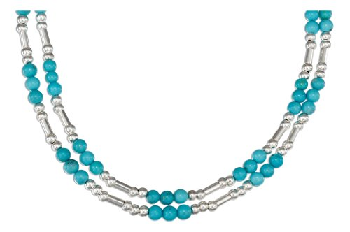 Sterling Silver 16 inch Double Strand Silver and Turquoise Bead Necklace.