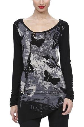 Desigual Tenerife - T-Shirt - Soie - Femme - Noir - XS