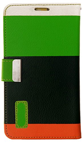 myLife Hunter Green and Lime Green {Colorful Fashion Design} Faux Leather (Card, Cash and ID Holder + Magnetic Closing) Slim Wallet for Galaxy Note 3 Smartphone by Samsung (External Textured Synthetic Leather with Magnetic Clip + Internal Secure Snap In Closure Hard Rubberized Bumper Holder)