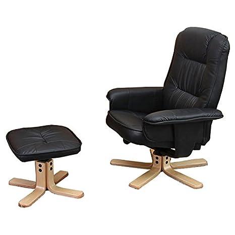 Relaxsessel Fernsehsessel Sessel mit Hocker M56 Kunstleder ~ schwarz