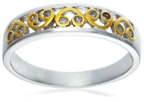 9ct Two Tone Gold AMR260862 Ladies' Diamond Band Ring Size M