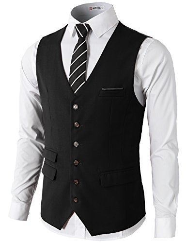 H2H Mens Formal Slim Fit Premium Business Dress Suit Button Down Vests