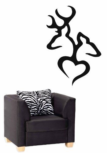 Deer Browning Heart Vinyl Wall Car Decal Sticker, BIG or SMALL, Highest Quality, 33.6