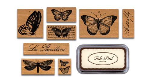 Cavallini & Co. Butterflies Designed Stamps Set Includes Wooden Rubber Stamps - Assorted/ Ink Pad - Black