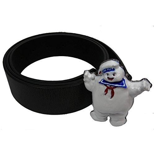 Ufficiale Ghostbusters Stay Puft Marshmallow Man Fibbia in Metallo e Cintura Nera - Taglia