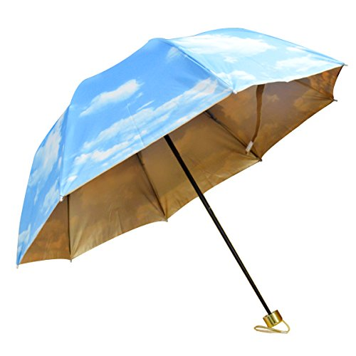 Good Bag Unisex Excellent Anti-UV Ultralight Folding Travel Umbrella Great for Sunny and Rainy Day Outer Blue Inner Gloden