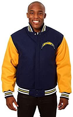 San Diego Chargers Men's Wool Jacket with Embroidered Applique Team Logos