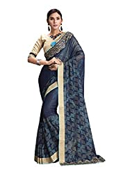 RUDDHI WOMEN'S DESIGNER SHADED BLUE FASHION GEORGETTE SAREE
