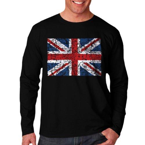 Wellcoda | British England Flag London Men Long Sleeve T-Shirt Black 2Xl