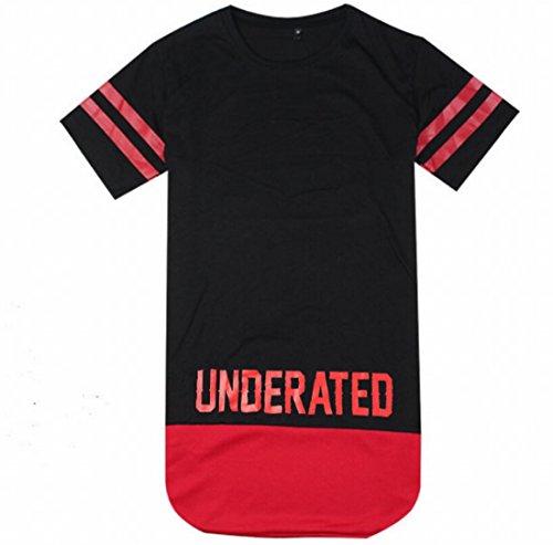 Tm Mens Hip Hop Unisex Patched Fringe Lengthen Short Sleeve T-Shirt M Black