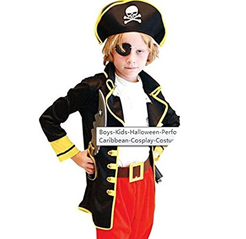 Fandecie Boy's Halloween Performance Pirates of the Caribbean Cosplay Costume