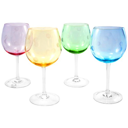Polka Dot Balloon Glasses (Set of 4)
