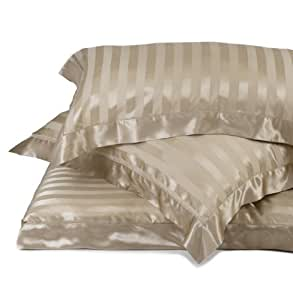 URBANARA Florenz bed linen collection - 100% pure Mulberry silk with sateen stripe - Cappuccino - square pillowcase 65 x 65 cm
