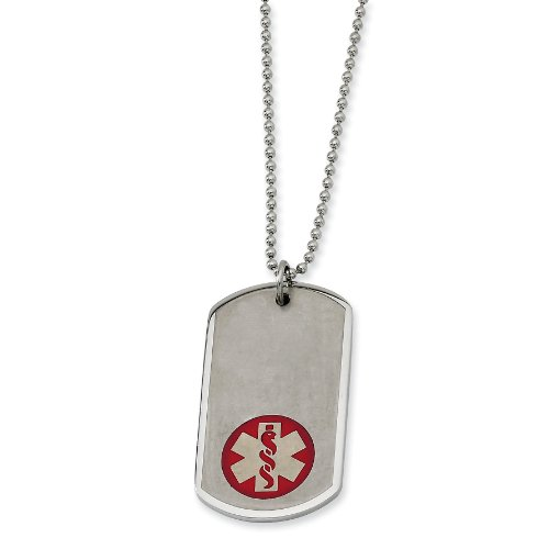 Stainless Steel Red Enamel Large Dog Tag Medical Pendant Necklace - 22 Inch - JewelryWeb