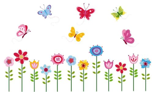 Whimsy Garden Flowers and 6 Butterflies Nursery Wall Sticker Decals