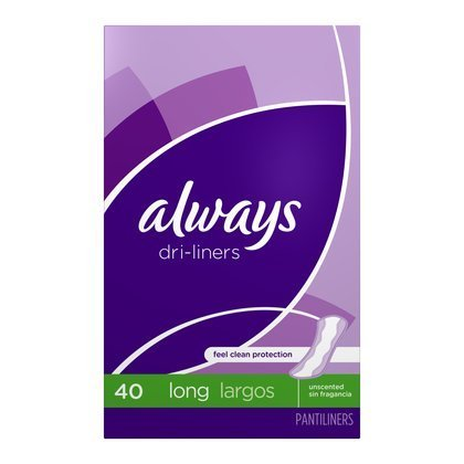 Always Dri-Liners Unscented Long Pantiliners - 40 CT