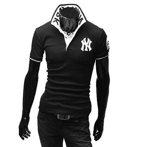 (ライセンス)RAiseNsE 半袖 ストリートポロシャツ スタンドカラー Tシャツ カットソー #TP102 XXL ブラック