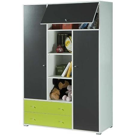 Armadio camera ragazzo libreria colorata bianco verde grigio AR7062 L120h183p52