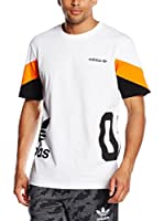 adidas Camiseta Manga Corta Color Block T-S (Blanco)