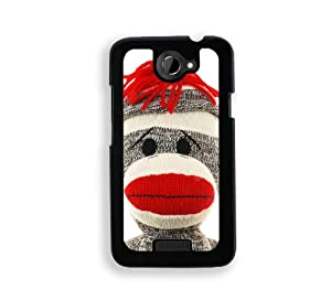 Sock Monkey Face - Protective Designer BLACK Case - Fits HTC One X / One X+