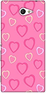 Snoogg Heart Pink Designer Protective Back Case Cover For Sony Xperia M2