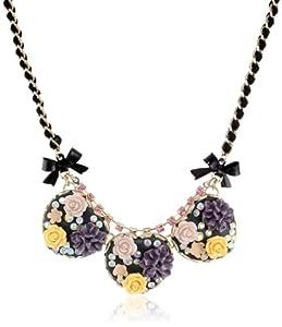 "Betsey Johnson ""Fabulous Flowers"" Flower Heart Necklace, 19"""