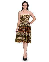 Grahcjows Creations Women's Dress (GCDRS1006_Beige_Large)