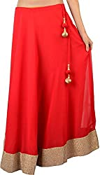 Ambitione Designer Women Red colored Skirt_L