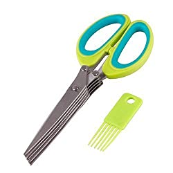 Multifunction 5 Blades Vegetable Stainless Steel Herbs Scissor with Blade Combo
