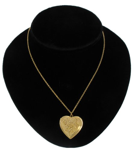 Gold Plated Metal Pendant Photo Locket Necklace Rose Heart