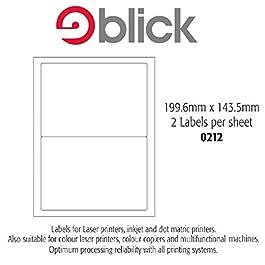 Blick Lot de 25 planches A4 d'étiquettes autocollantes 2 étiquette Par feuille (199,6 mm x 143,5 mm Jet d'encre/Laser/Copieur -