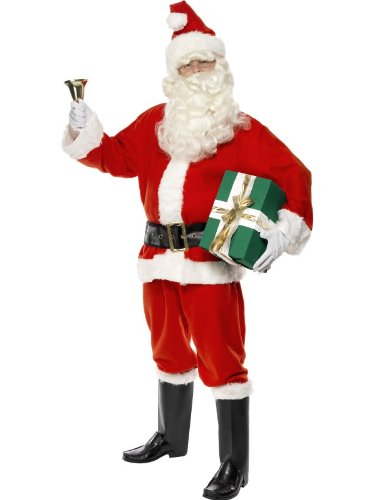 Mens 6 Piece Father Christmas Xmas Santa Claus Fancy Dress Costume Outfit M - XL (Extra Large (46-48