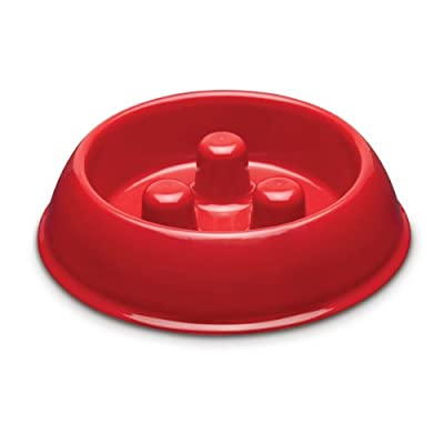 Brake-Fast Dog Food Slow Feed Bowl - Small Red
