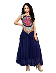 Clickedia Women Semi Stitched Georgette Navy Blue Embroidered Gown