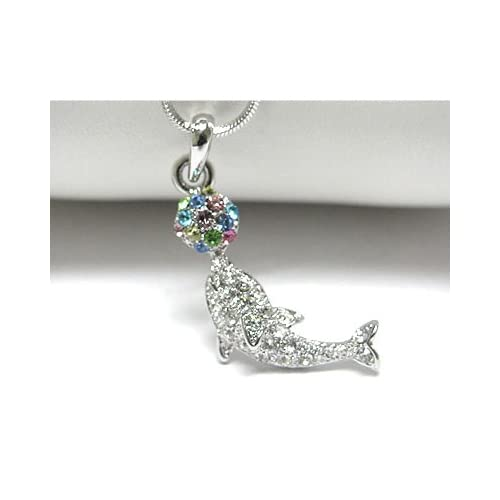 Playful Dolphin with Beach Ball White Gold Plated Pendant 17 Snake Chain Necklace