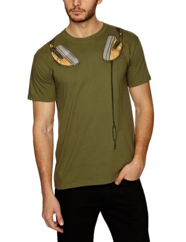DMC Technics DJ Headphones Green Mens T-Shirt Small