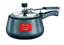 Prestige Nakshatra Cute Hard Anodized Aluminum Pressure Cooker, 2 Litres, Charcoal Black