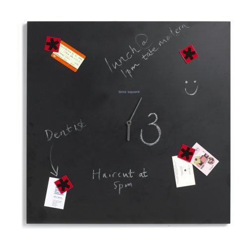 Black+Blum Time Square 25-1/2 by 25 by 2-1/2-Inch Clock + Blackboard, Black