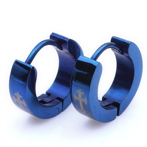 K Mega Jewelry Blue Cross Cool Steel Stud Hoop Mens Earrings