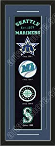 Heritage Banner Of Seattle Mariners With Team Color Double Matting-Framed Awesome... by Art and More, Davenport, IA