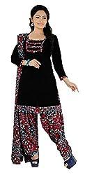Khushali Presents Patiyala Dress Material(Black,Multi)