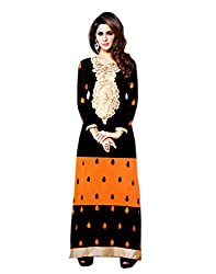 Zerel Womens Georgette Straight Semi-Stitched Dress Material (Ze-748 _Black)