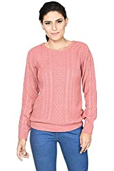 Annabelle by Pantaloons Women's Round Neck Sweater (205000005619637, Pink, Small)